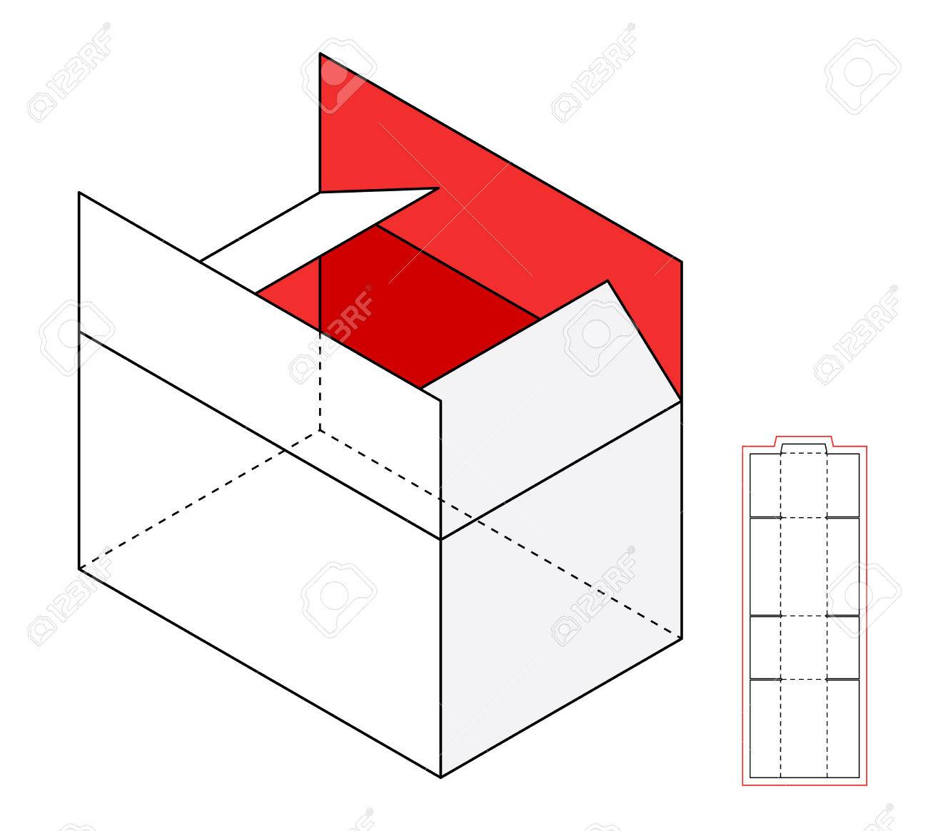 simple open cardboard vector box template cut out royalty free