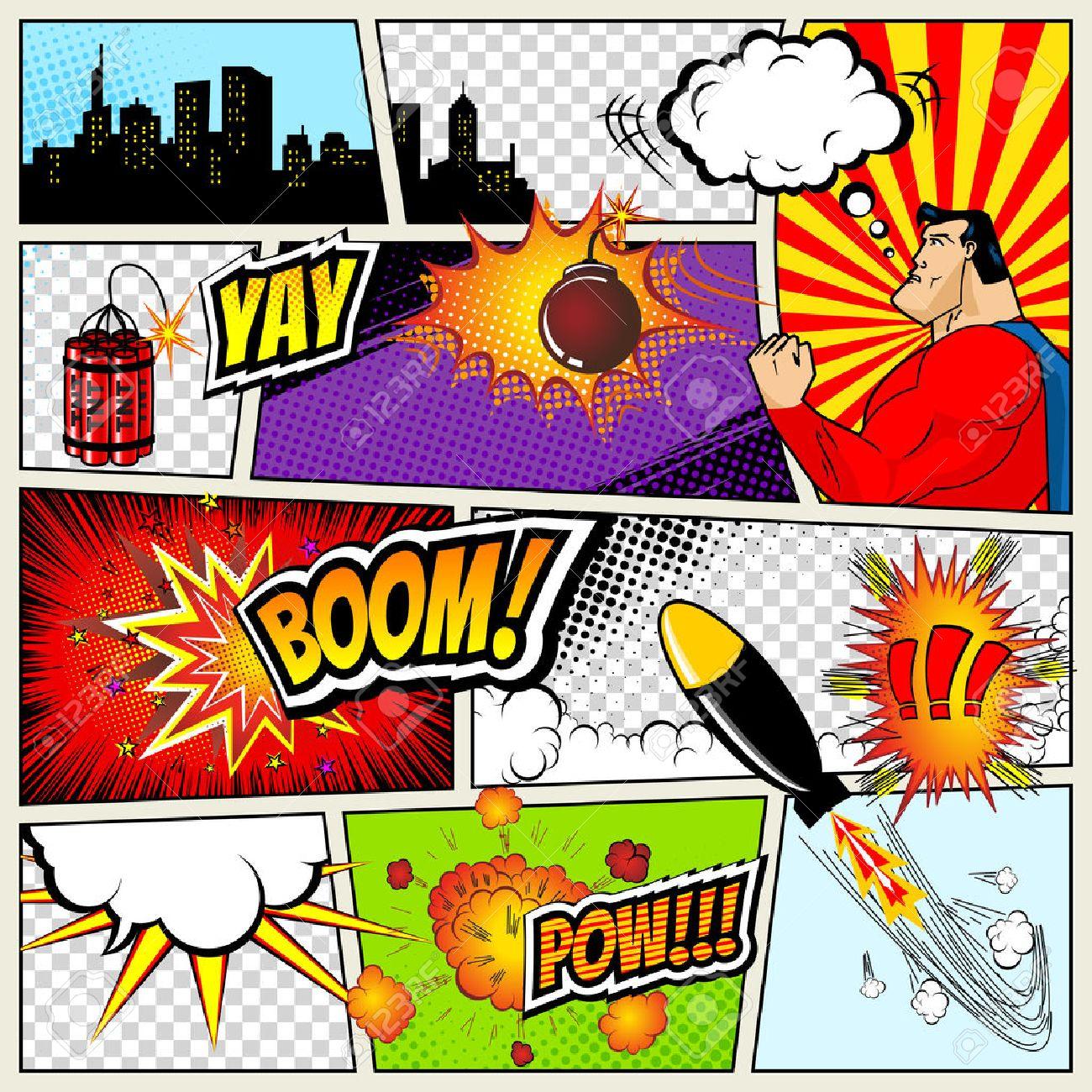 Comics Vorlage. Vector Retro Comic Speech Bubbles Illustration. Mock ...