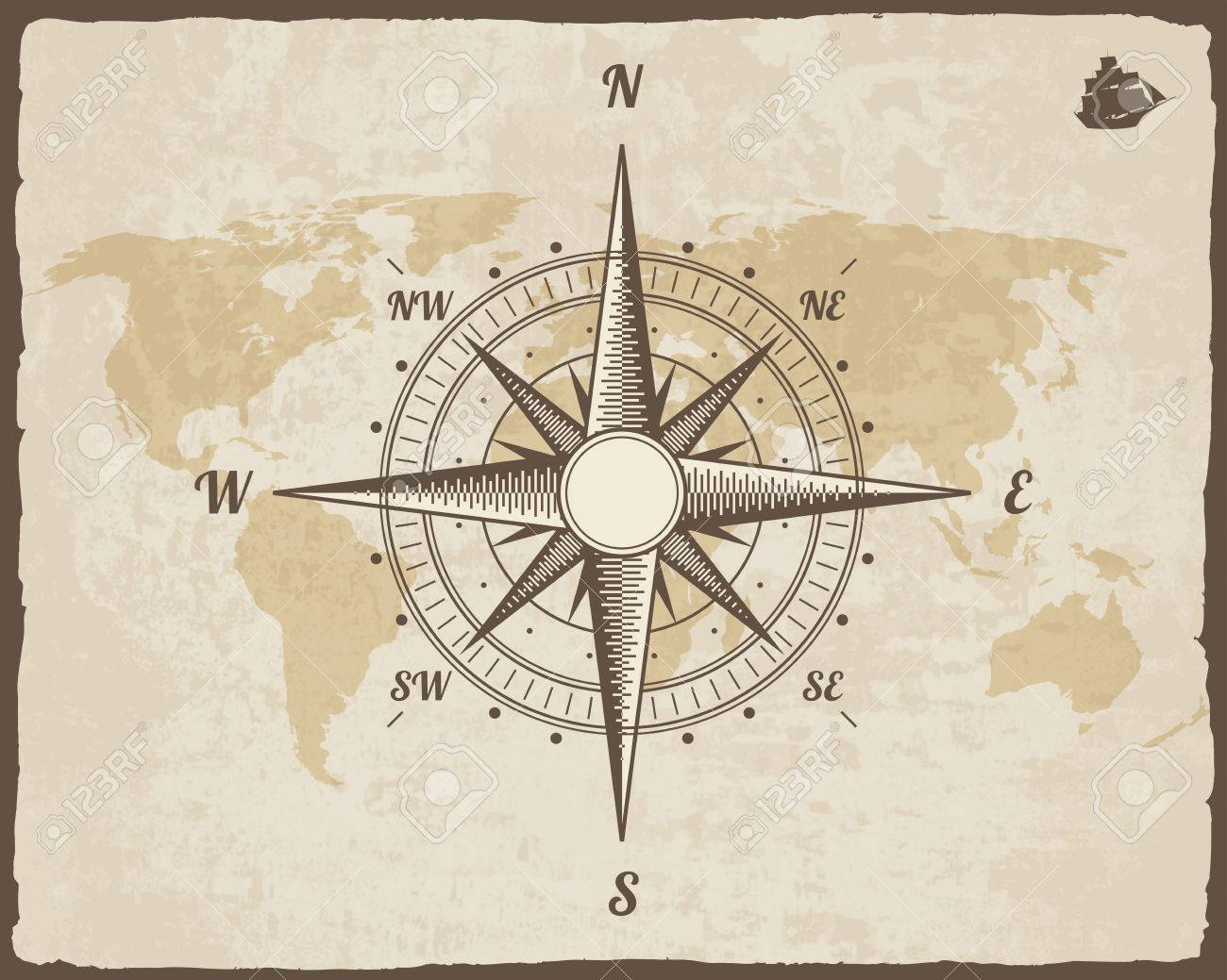 Vintage nautical compass old world map on paper texture with old world map on paper texture with torn border frame wind gumiabroncs Images