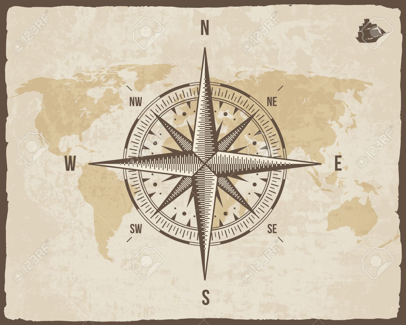 Vintage nautical compass old world map on paper texture with vector vintage nautical compass old world map on paper texture with torn border frame wind rose background with ship logo silhouette gumiabroncs Choice Image