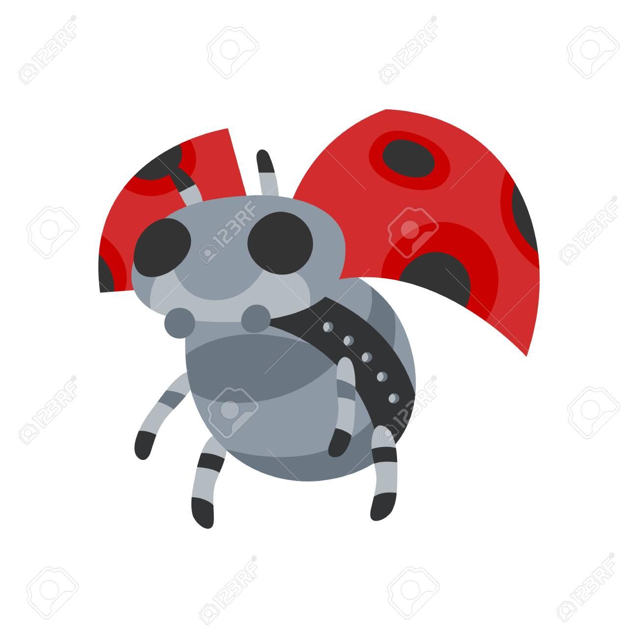 Vector Cartoon Mechanical Robotic Ladybug. Toy With Artificial ...