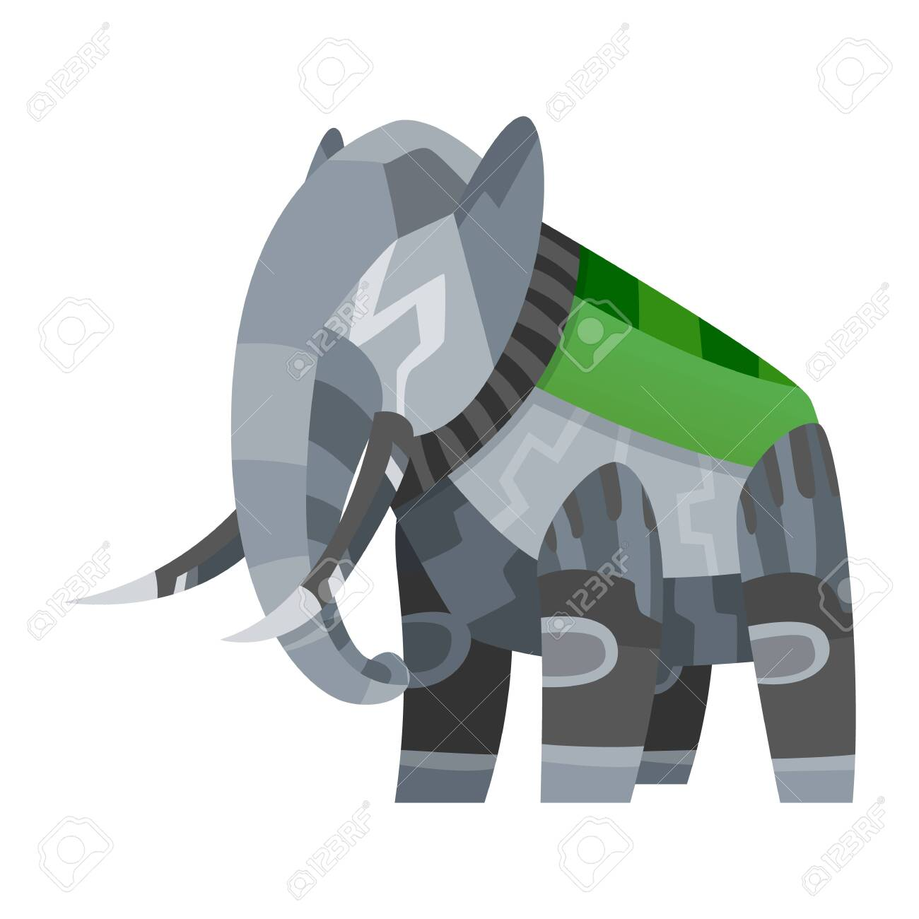 Vector Cartoon Mechanical Robotic Elephant. Toy Androids With ...