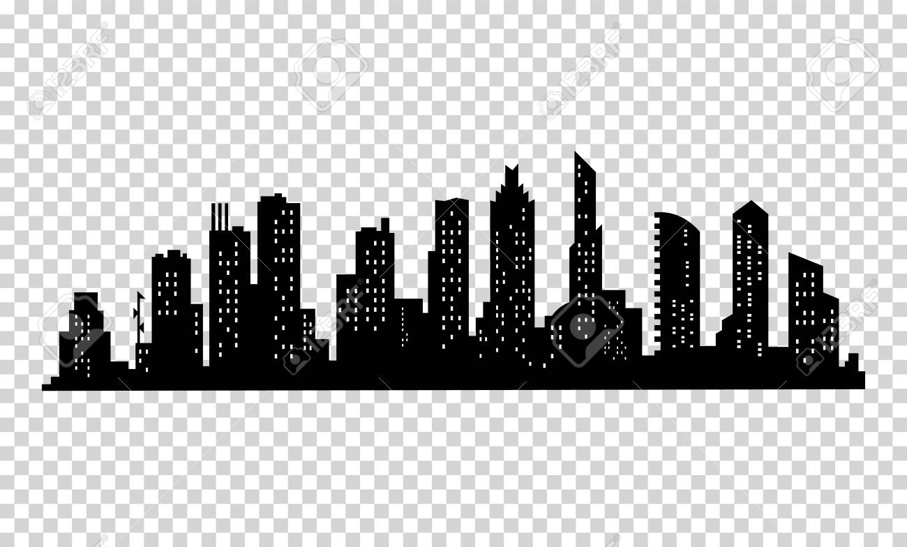 City silhouette. Modern urban landscape. Cityscape buildings silhouette on transparent background. City skyline with windows in a flat style - 151908910