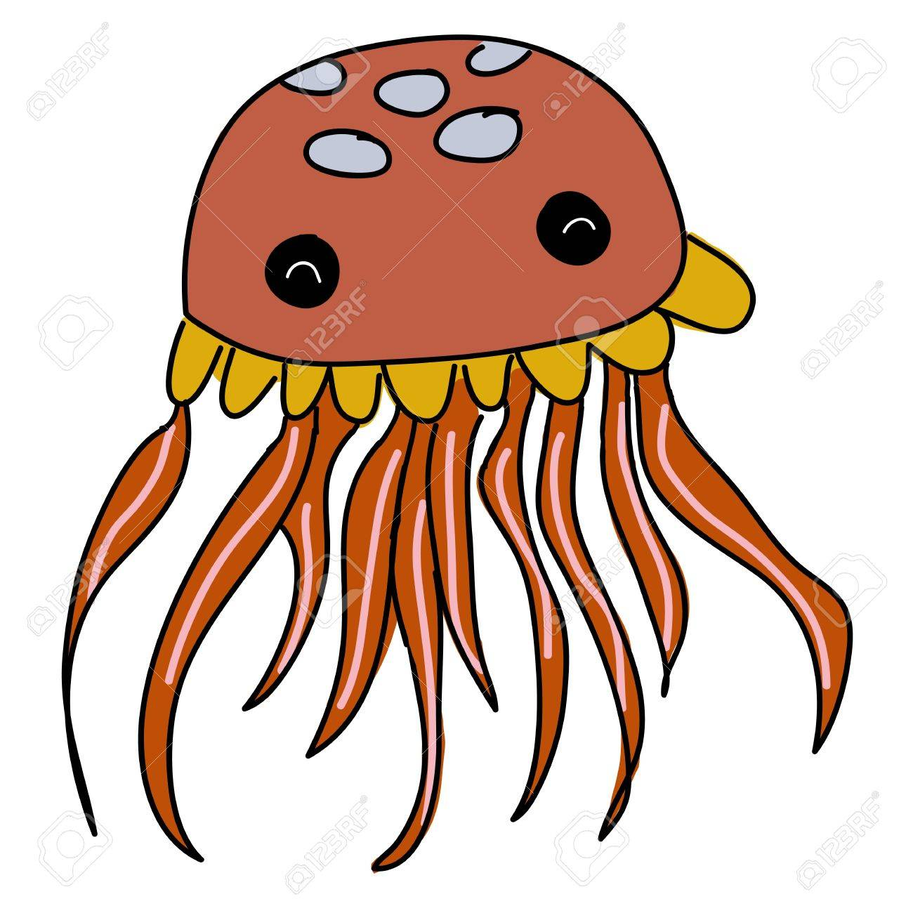 cute jellyfish cartoon Stock Photo - 16388232