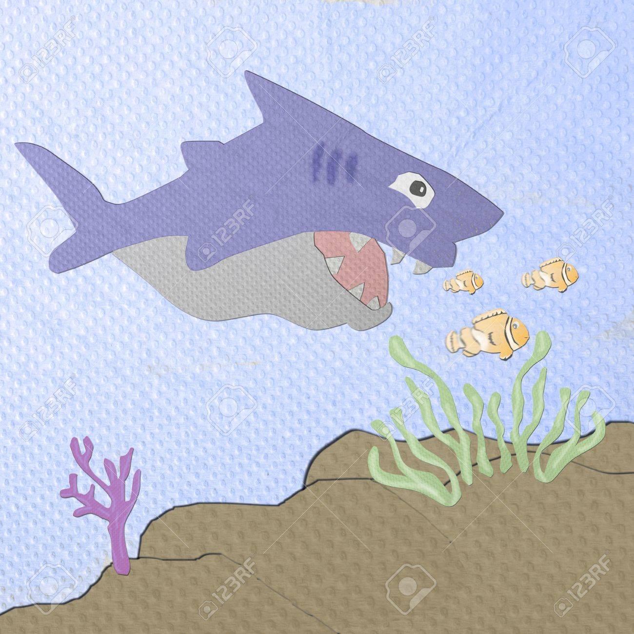 Shark cartoon made from tissue papercraft Stock Photo - 16758959