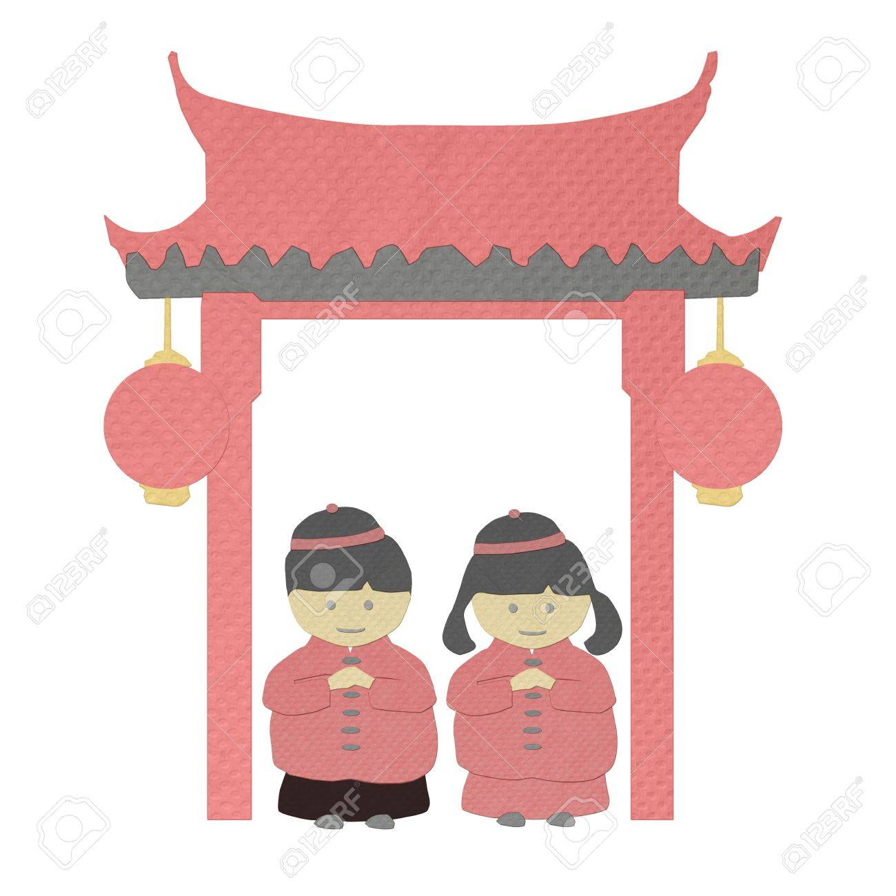 Chinese New Year Boy And Girl Greeting From Tissue Paper Craft Stock