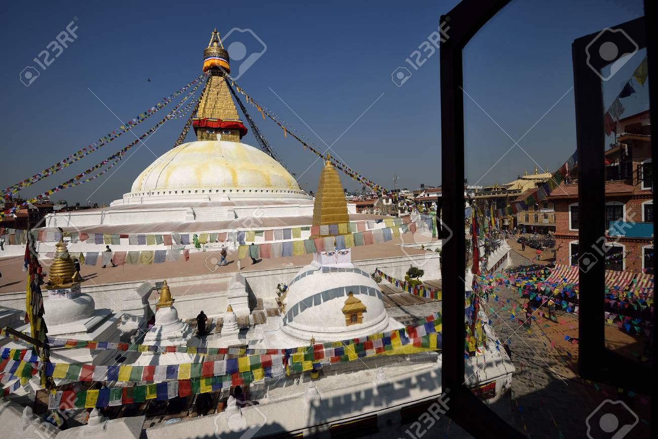 Boudhanath Stupa through the windows, Kathmandu valley, Nepal  Stock Photo - 18777013