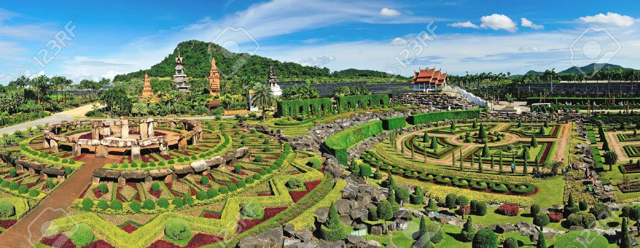 panoramic view of Nong Nooch Garden in Pattaya, Thailand Stock Photo - 19690979