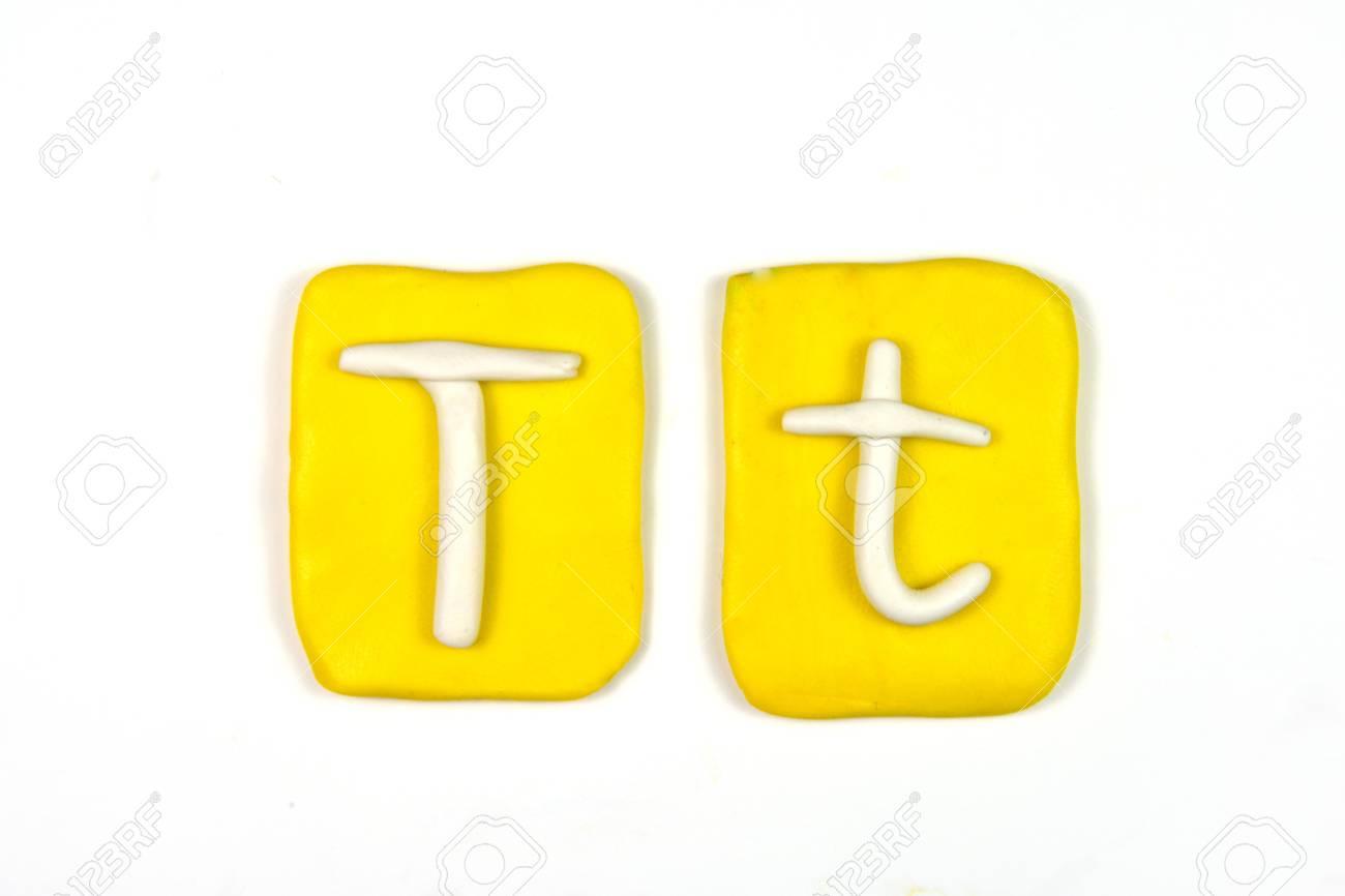 plasticine letter t Stock Photo - 20072320