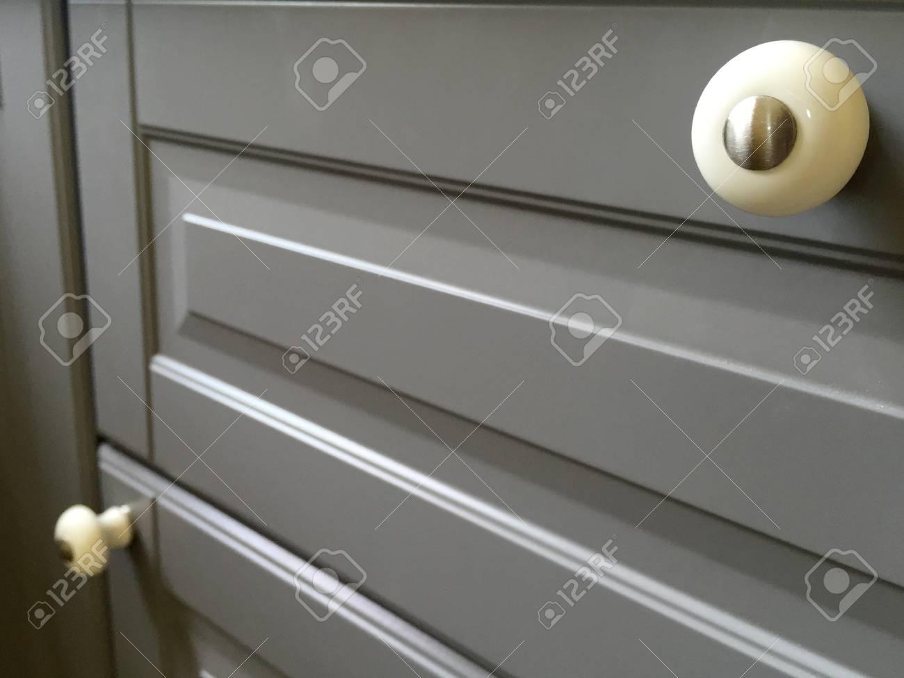 Close Up Of Kitchen Cabinet Door Knobs