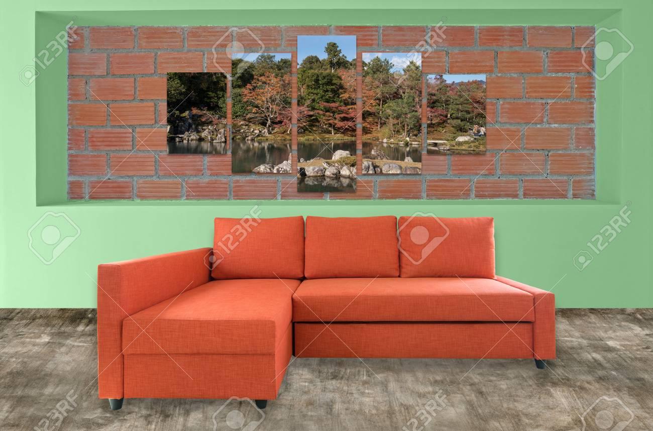 orange sofa furniture and nature photo collage on brick wall