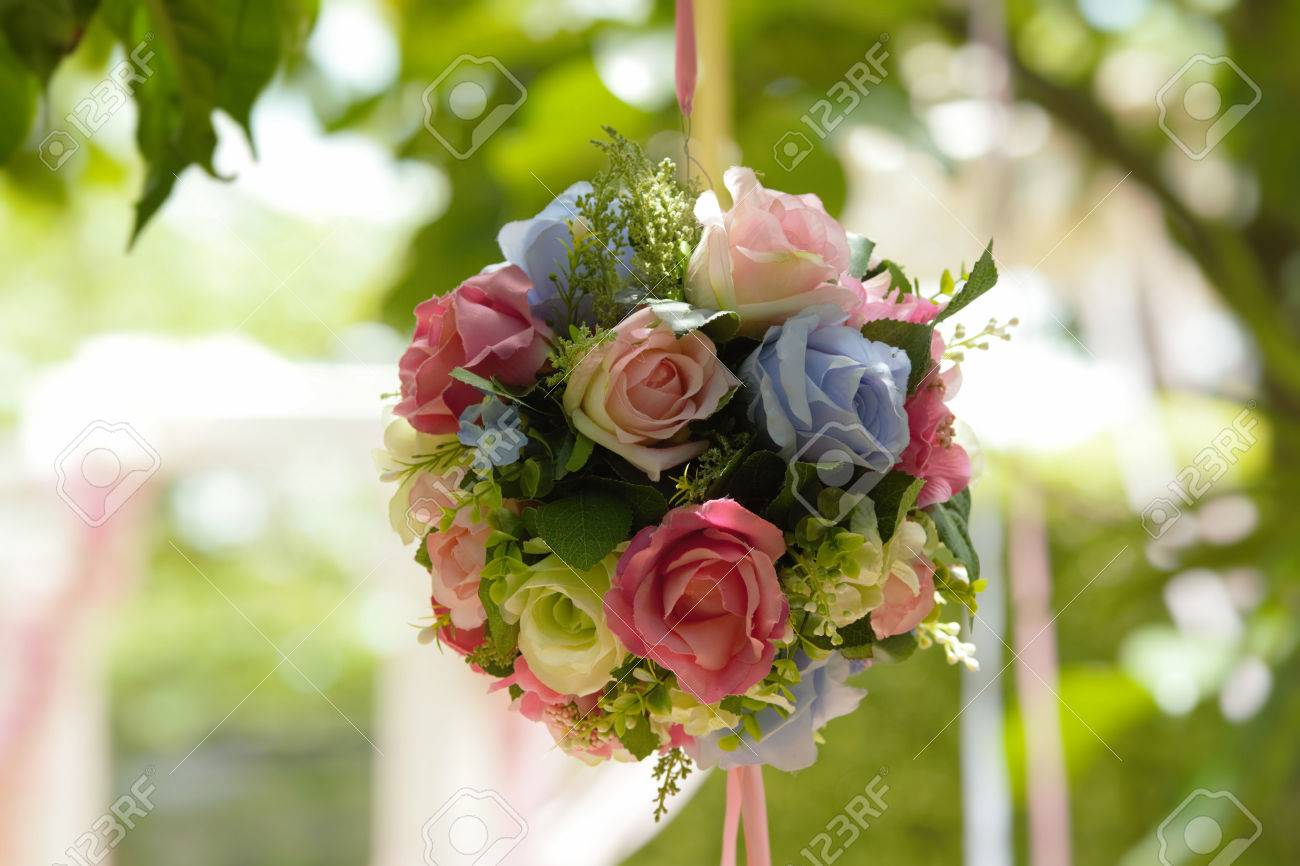 The colorful bouquet of fake flowers in the wedding stock photo stock photo the colorful bouquet of fake flowers in the wedding izmirmasajfo