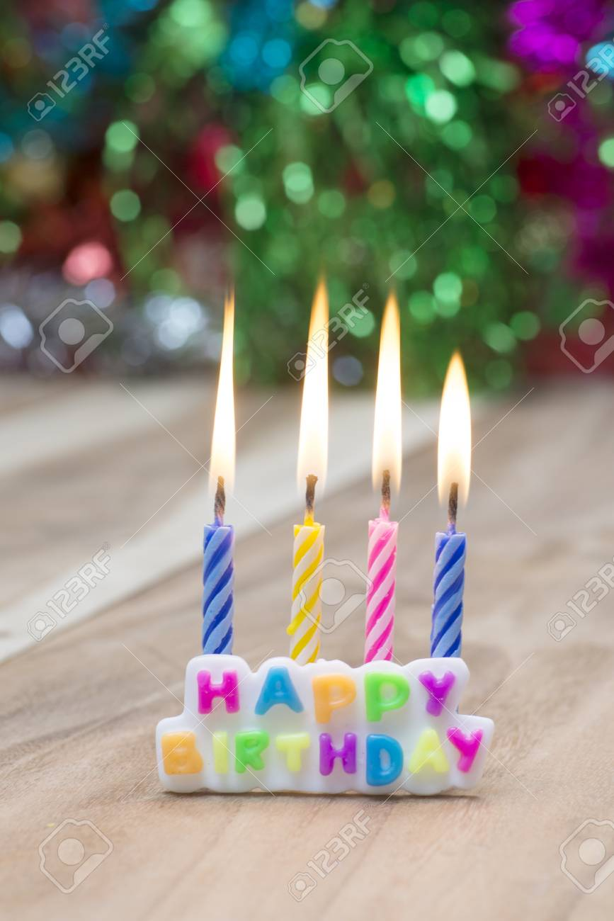 Happy Birthday Candles On Abstract Background Stock Photo
