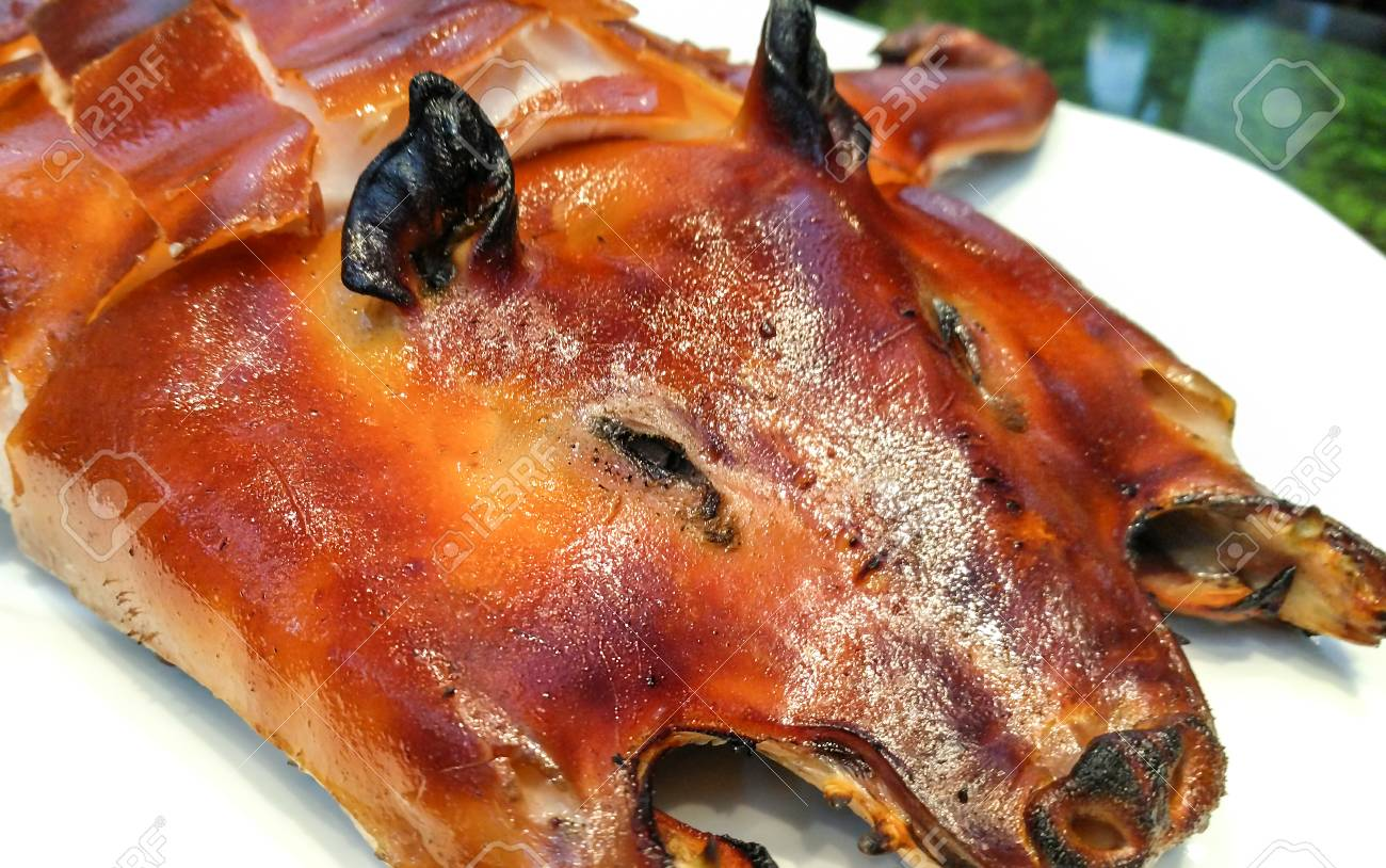 Barbecued Suckling Pig Cut To Plant At Chinese Restaurant Food Stock Photo Picture And Royalty Free Image Image 77961446