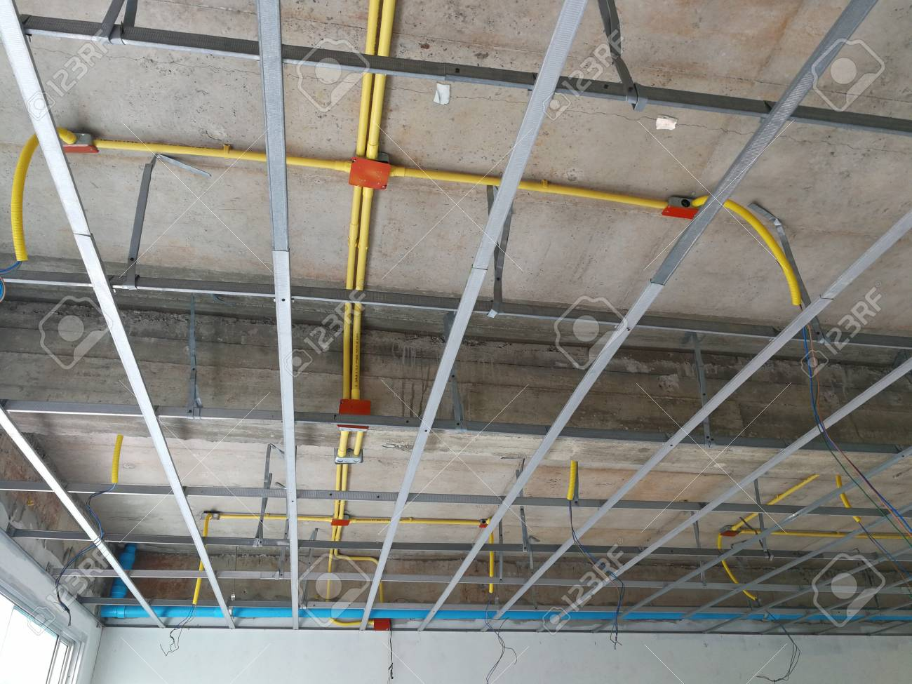Ceiling Under Construction And Home Wiring Duct Stock Photo, Picture ...