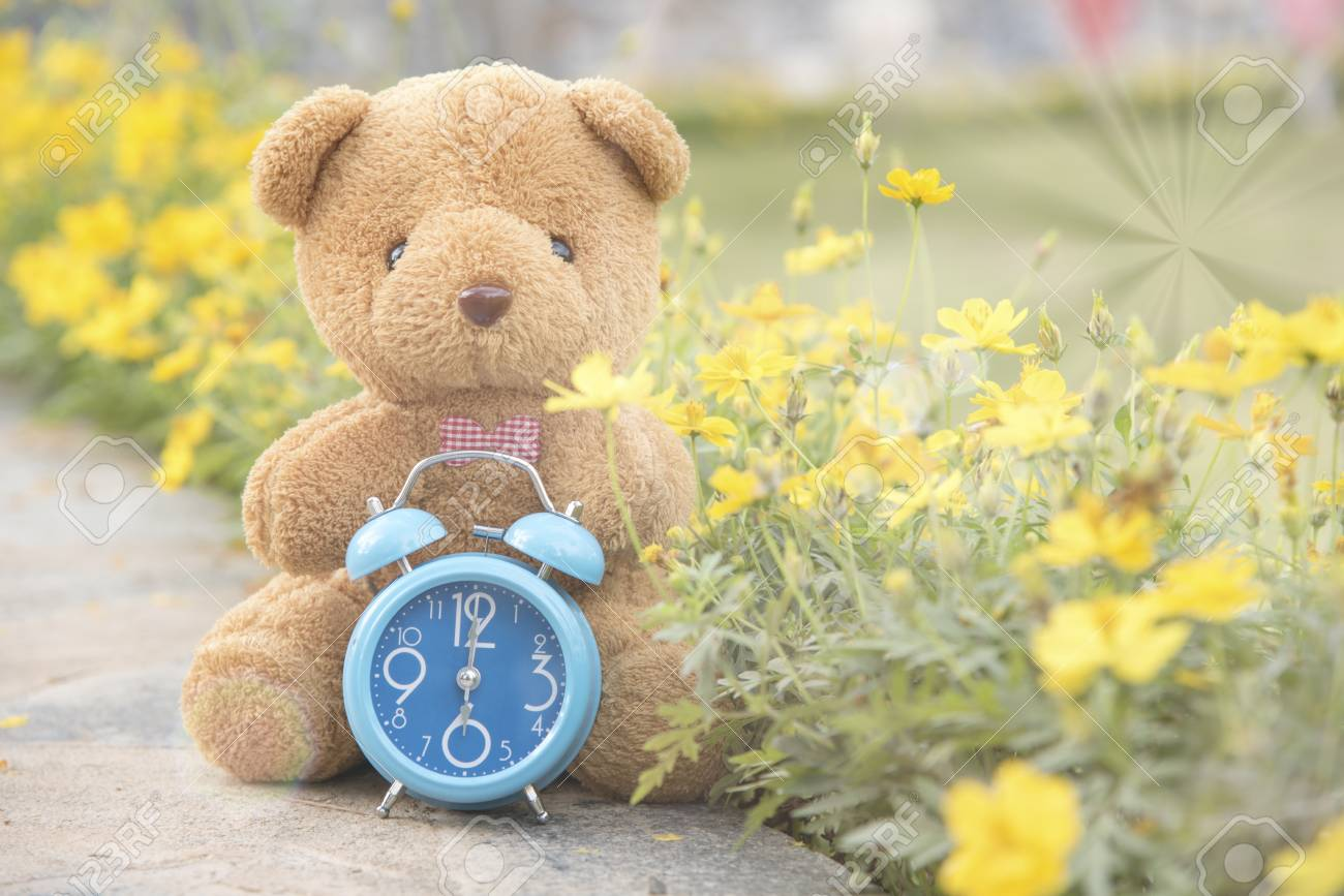 Teddy Bear With Blue Clock On Backdropas A Background Or Wallpaper