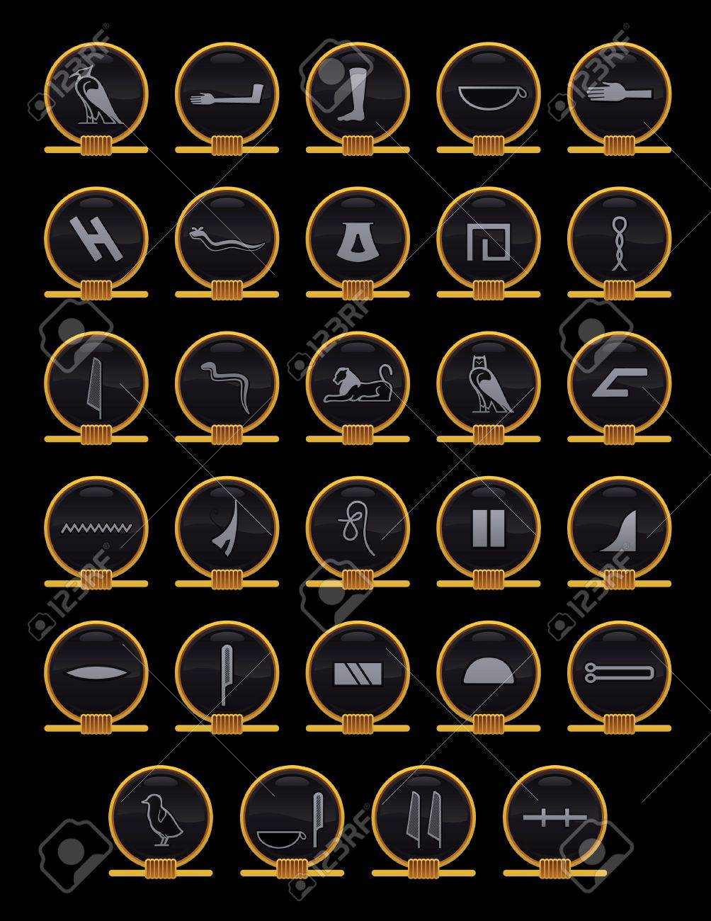 egyptian alphabet icons royalty free cliparts vectors and stock