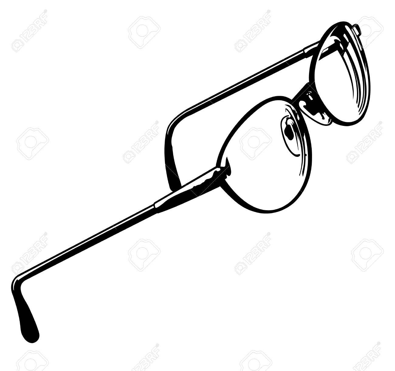 Black and white vector illustration of a pair of eye glasses. Stock Vector - 12091447