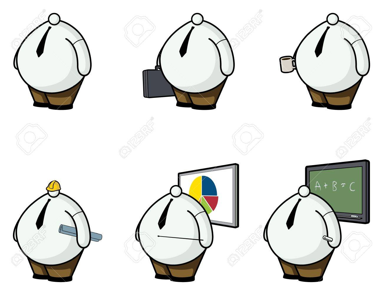 Vector illustration of fat white collar workers with little heads. Stock Vector - 12093380