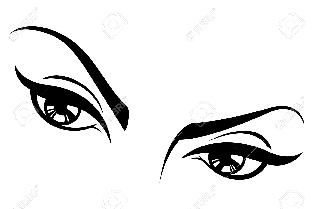 Black and white illustration of a womans eyes. Stock Vector - 12091372