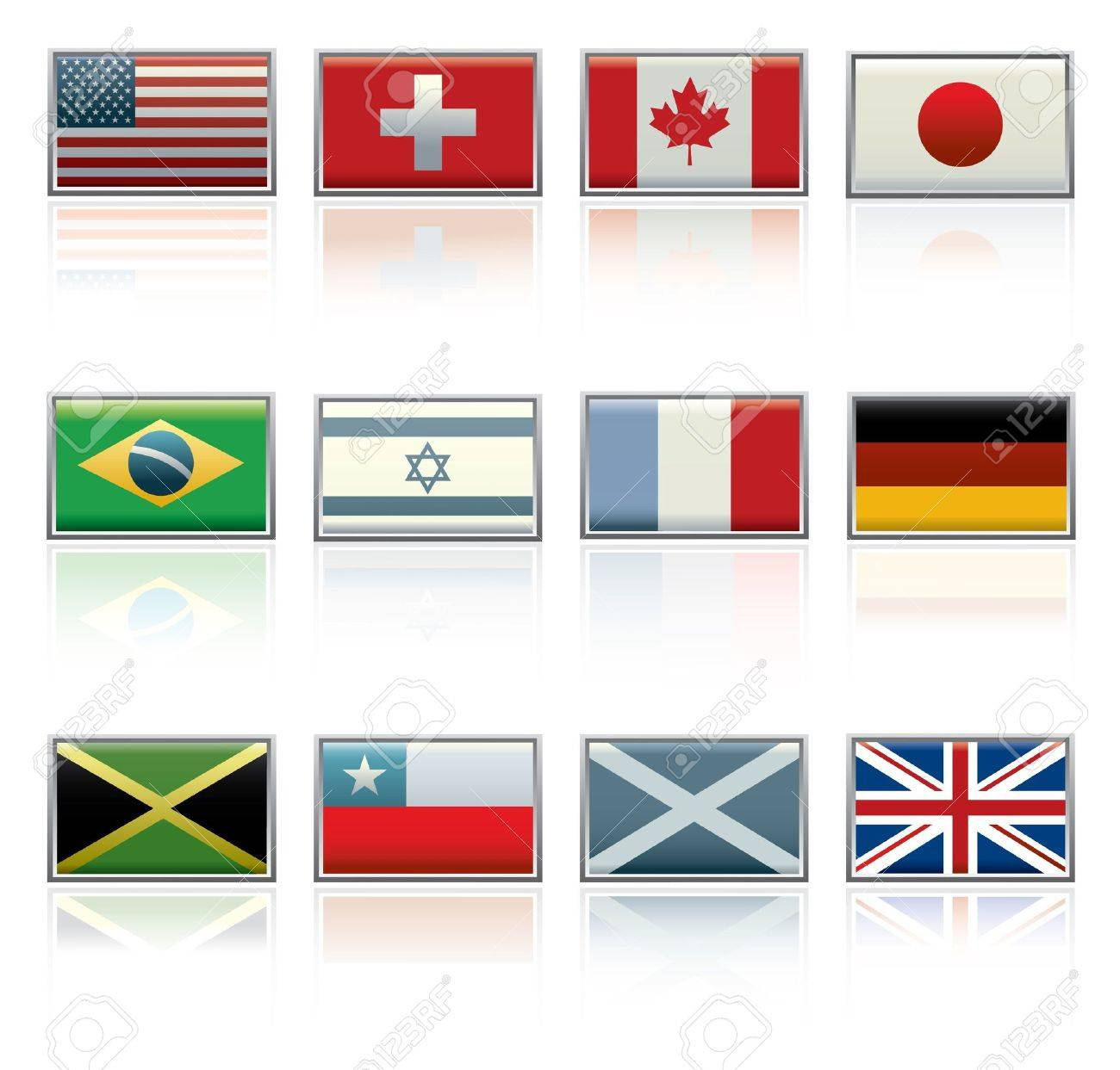 Vector icon set of twelve different international flags. Stock Vector - 12091584