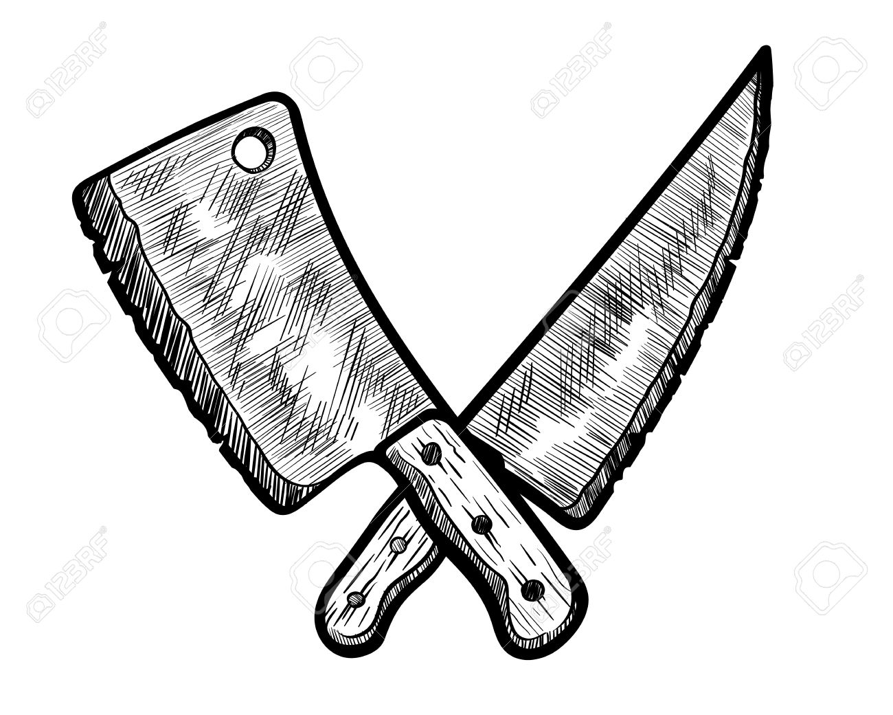 Meat Clever And Butcher Knife. Vector Illustration Of A Hand Drawn Meat  Clever And Butcher