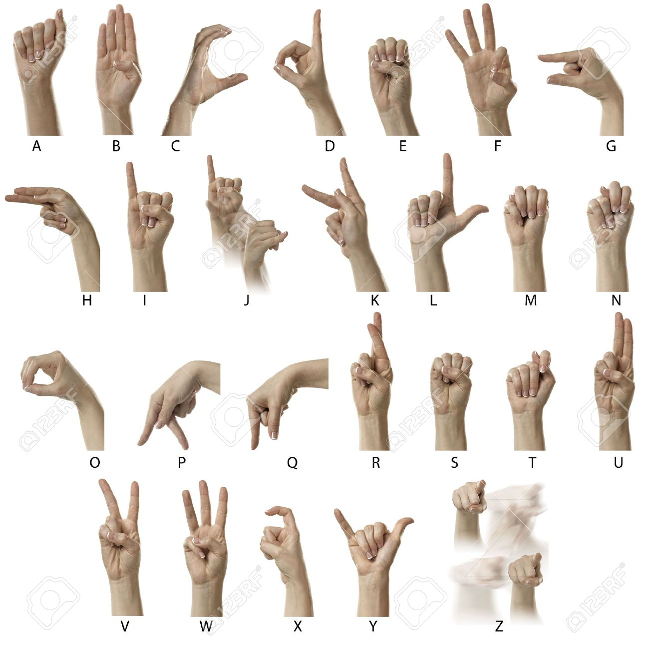 Finger Spelling the Alphabet in American Sign Language (ASL) Stock Photo - 6695701