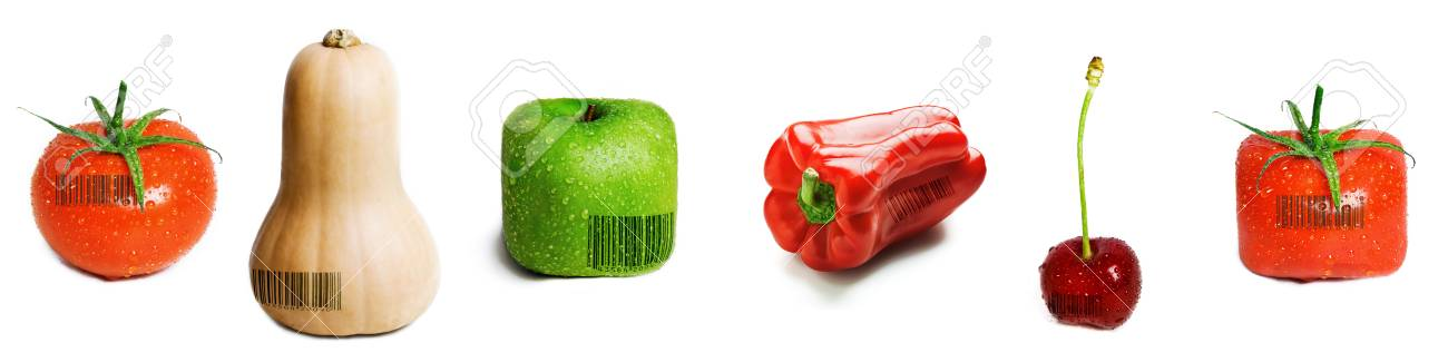 A selection of fruit and veg with barcodes on them isolated on white. Stock Photo - 6733969