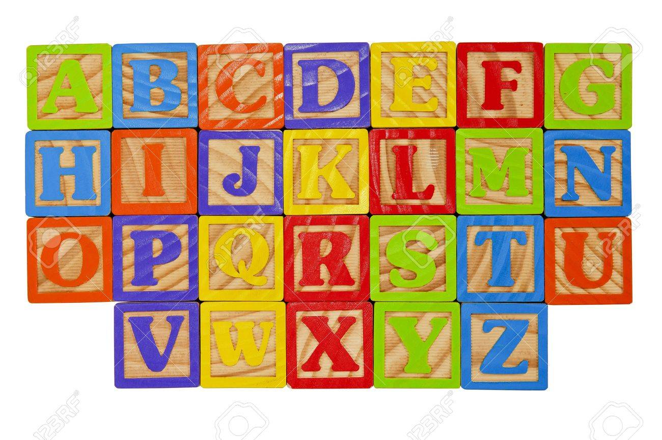 Childrens Alphabet Blocks of the whole alphabet in Capital Letters Stock Photo - 7280096