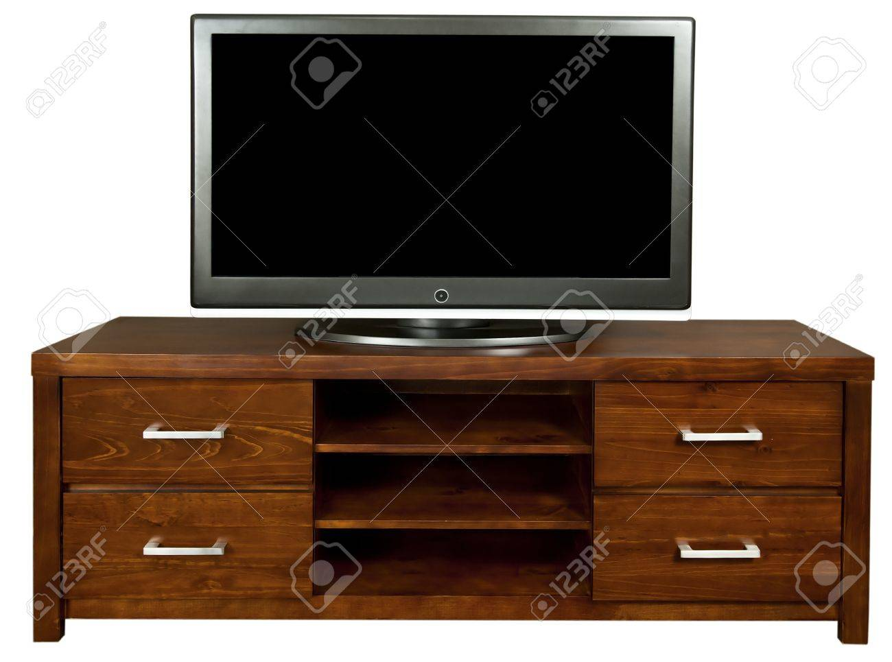 Large Tv Cabinets A Classic Brown Wooden Tv Cabinet With A Large Lcd Tv On It Stock