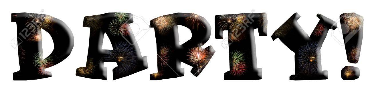 The word Party spelled out with fireworks in the background of the letters. Isolated on white. Stock Photo - 9138976