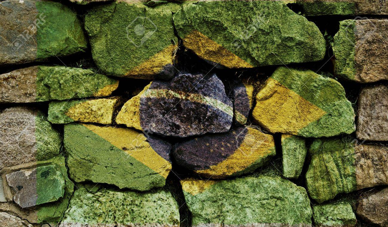 The Brazilian Flag painted on to a stone wall. Stock Photo - 9257649
