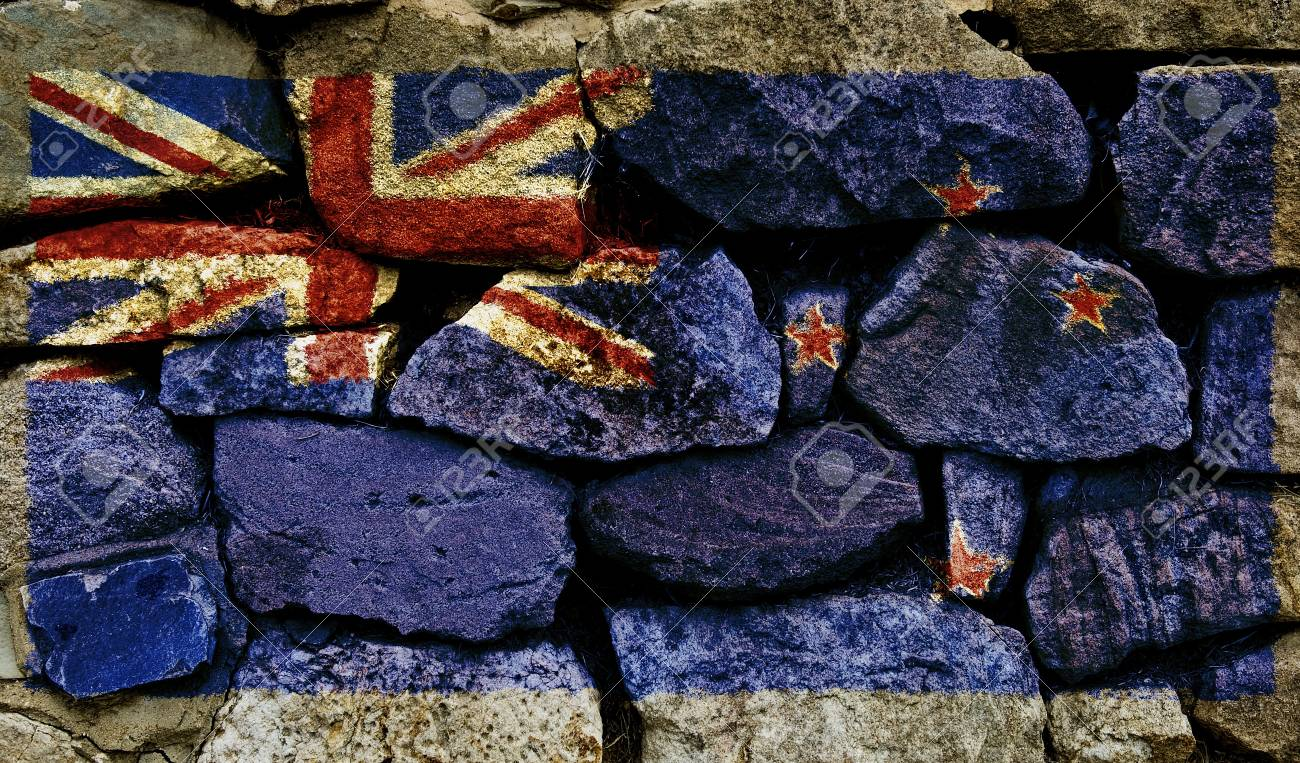 The New Zealand Flag painted on to a stone wall. Stock Photo - 9257650