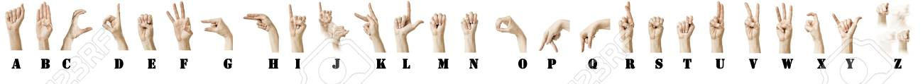 The ASL Alphabet spelt out with a white females hand. Labels are added. Stock Photo - 9404915