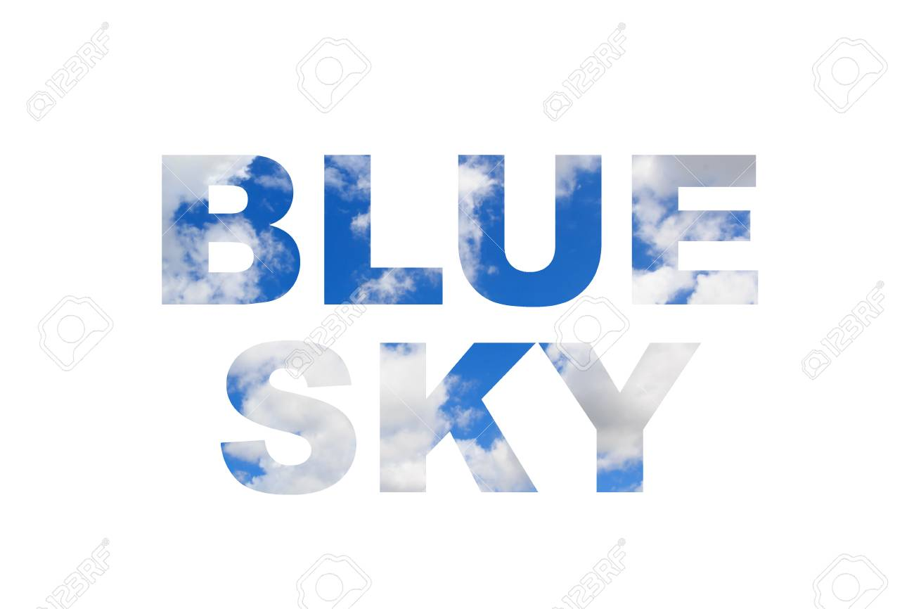 blue sky word clipping mask style on white background