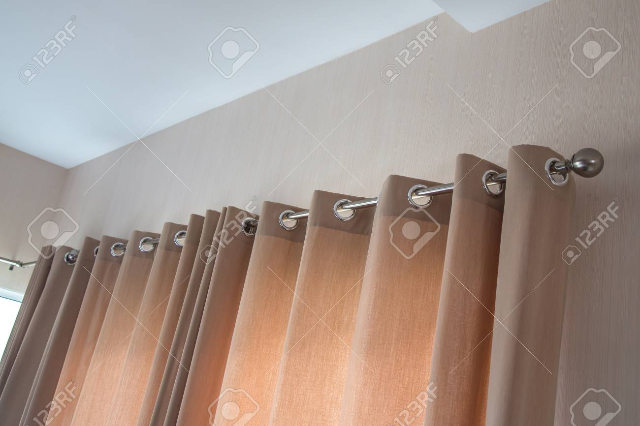 Cream Colored Curtains Is Modern Design Stock Photo Picture And Royalty Free Image Image 51920488