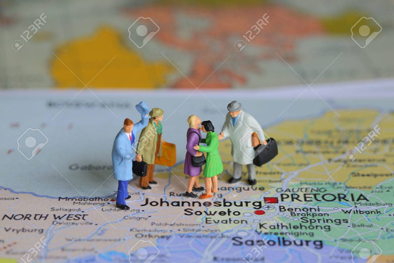 Selective Focus Of Miniature Tourist And Journey To Johannesburg