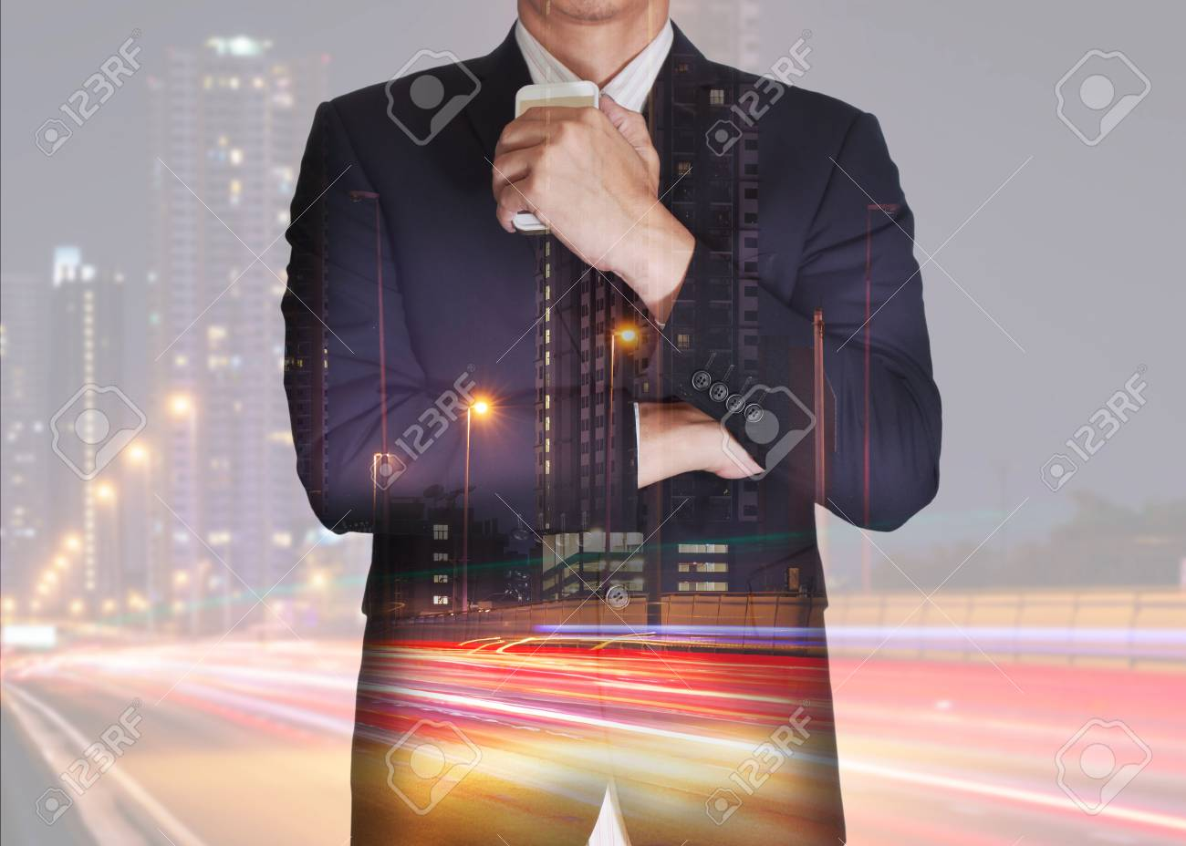 da8af2664fdef Double exposure of businessman stand up and think idea about business,  light trails on the