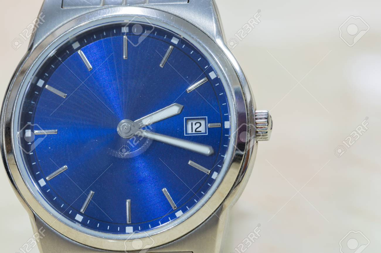 Close-up Luxury Blue Silver Hand Watch. Best Accessories Background ...