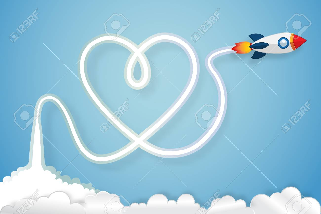 Heart Exhaust Smoke Of Rocket Launch On Clouds And Blue Sky As Royalty Free Cliparts Vectors And Stock Illustration Image 95557824