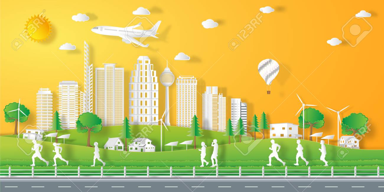 peoples exercise landscape in the city with sunset on summer, fresh air in the park as nature, healthy, paper art and craft style concept. vector illustration. - 102428738