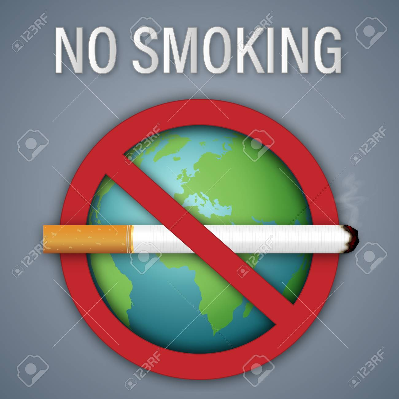 No smoking sign world day on the green earth as healthy, Social issues and paper art concept. vector illustration - 104465629