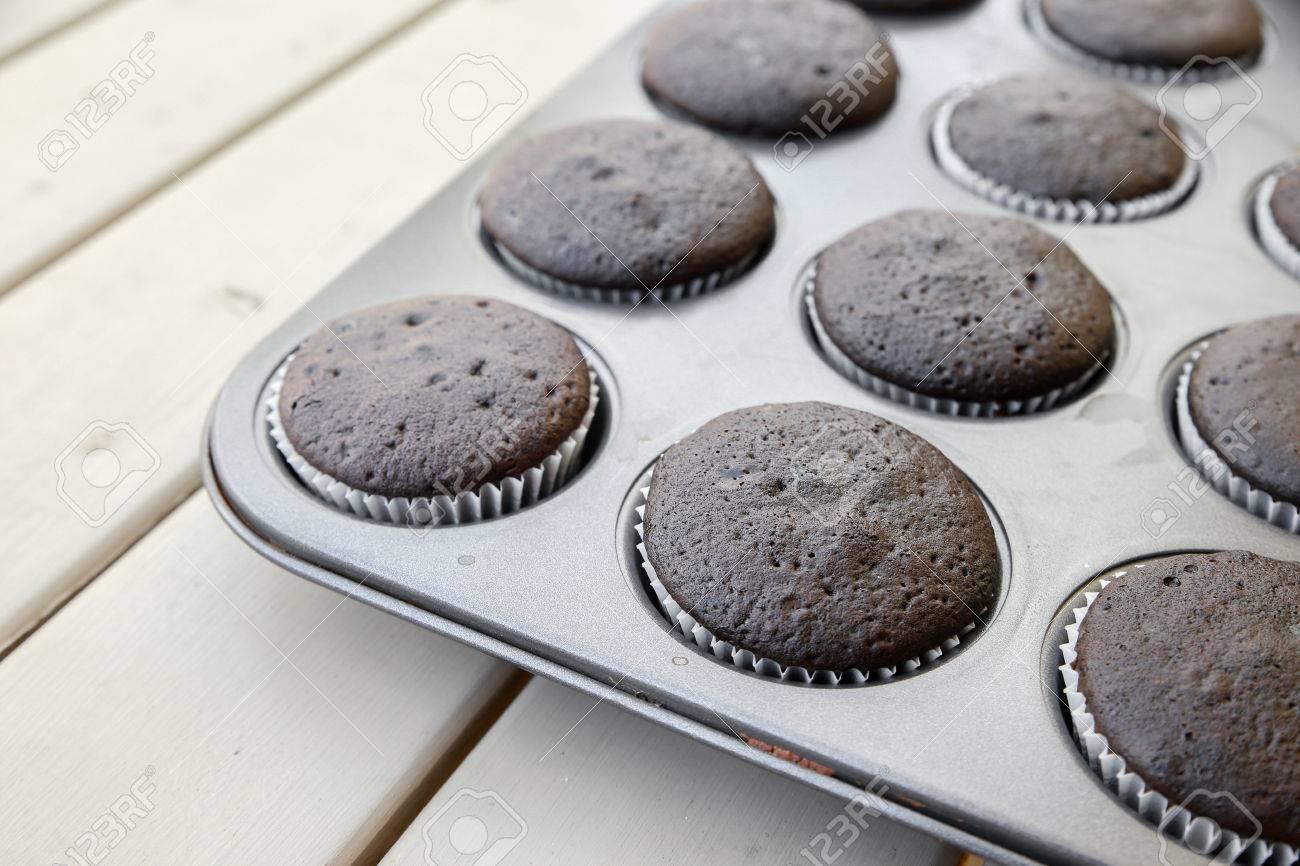 Homemade Dark Chocolate Cupcakes In Baking Pan Stock Photo ...