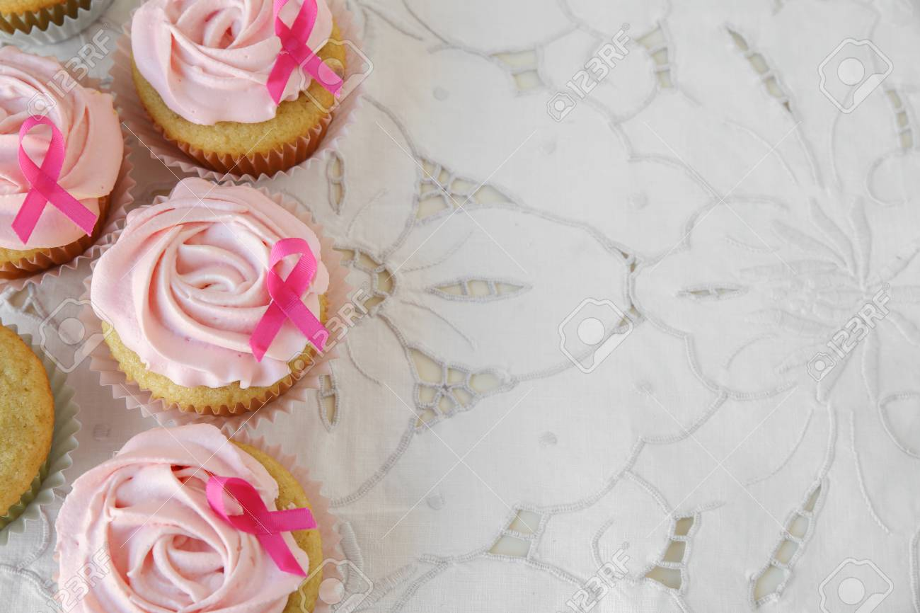 Rose Flower Cupcakes For Pink Ribbon Day Copy Space Background