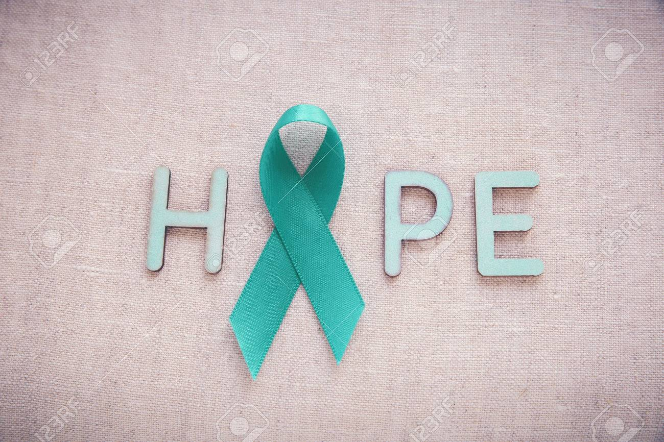Teal ribbons with hope word ovarian cancer cervical cancer teal ribbons with hope word ovarian cancer cervical cancer kidney cancer awareness stock biocorpaavc