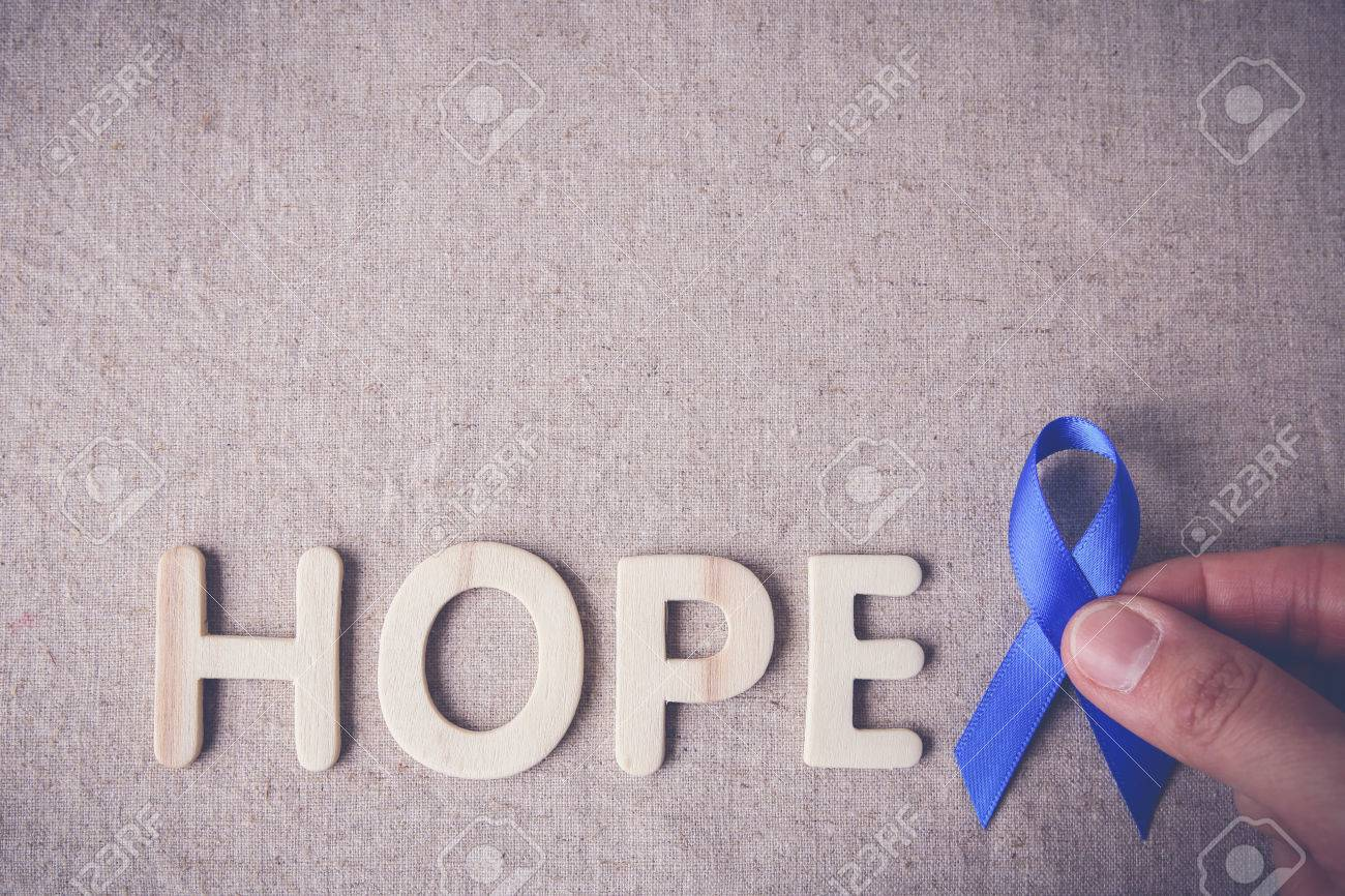Blue Ribbon With Hope Word Toning Background Colon Cancer Stock Photo Picture And Royalty Free Image Image 64469208