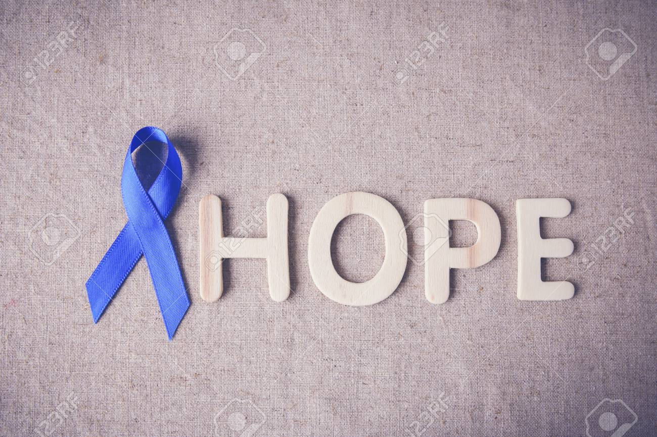 Blue Ribbon With Hope Word Toning Background Colon Cancer Stock Photo Picture And Royalty Free Image Image 64469209