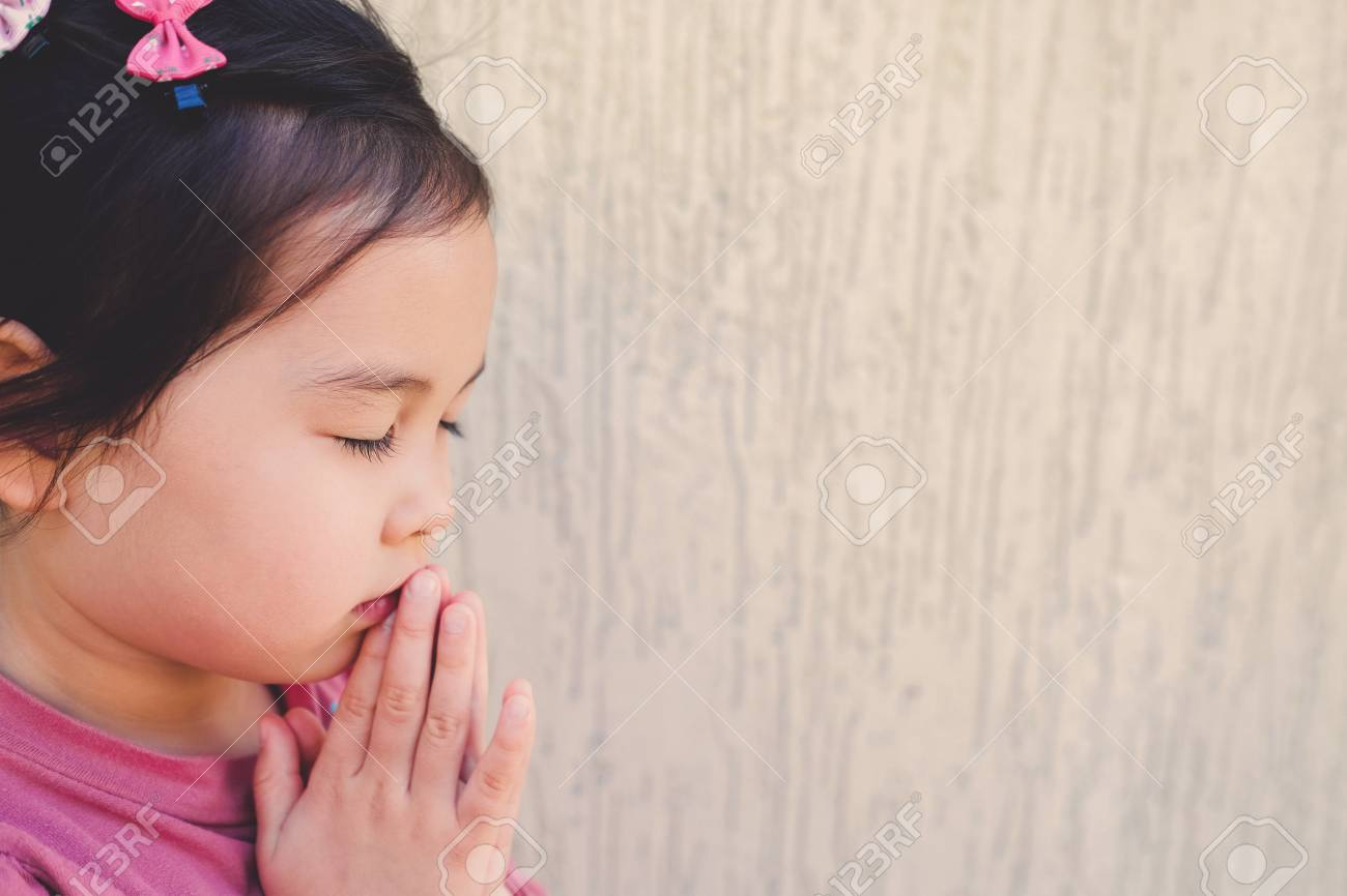 Little Multiethnic Girl Praying Kid Child Pray Conceptshallow