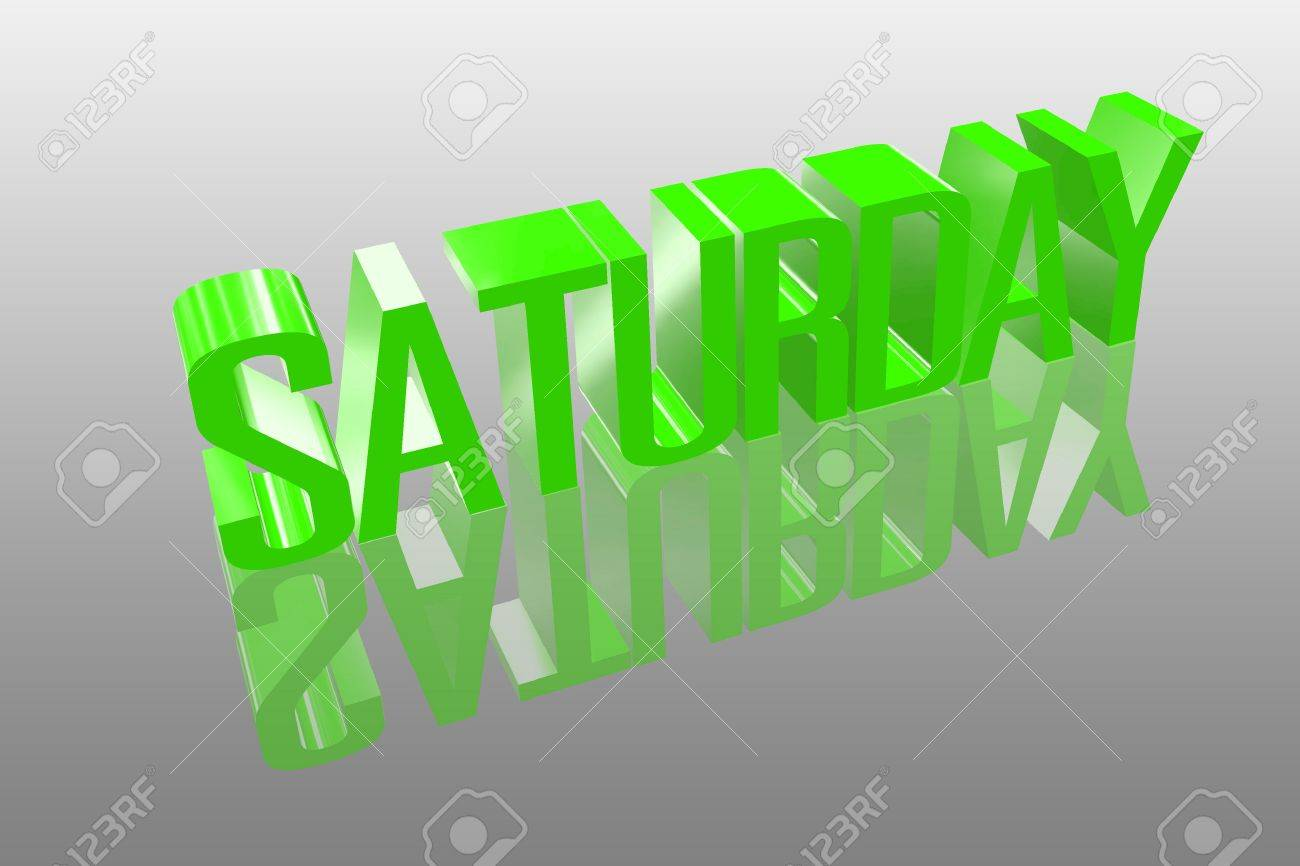 3D saturday with a reflection founts Stock Photo - 16155714