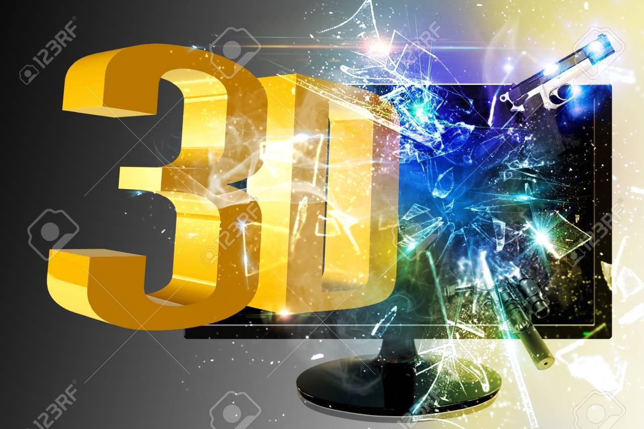 Through the screen 3D Stock Photo - 17174336